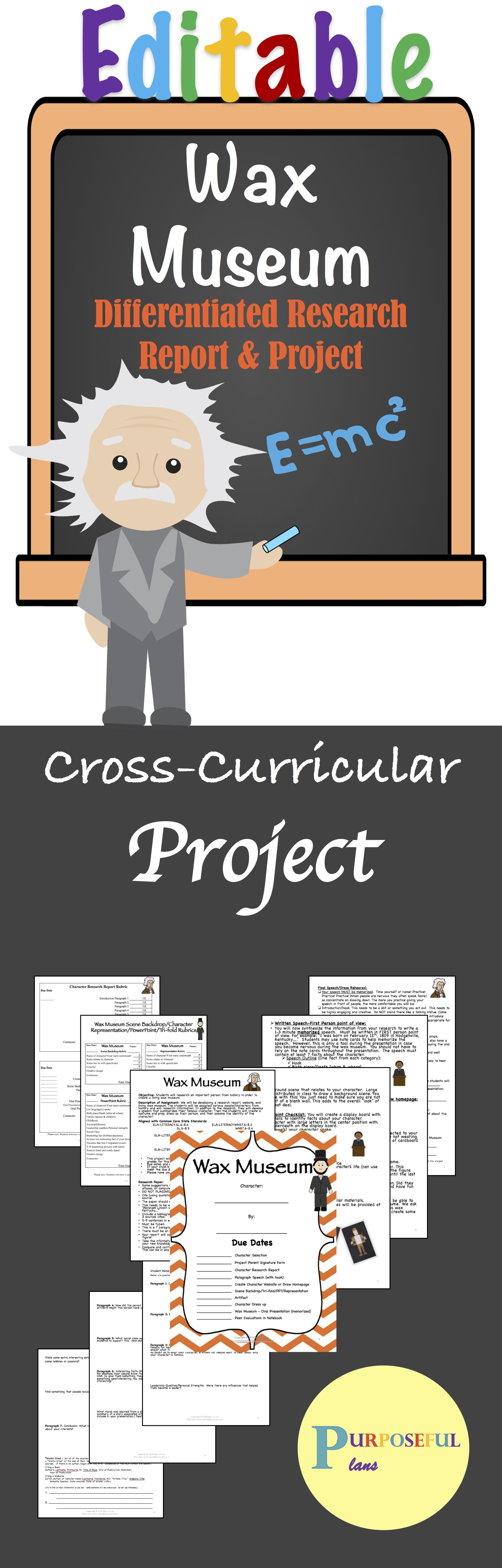Editable Wax Museum Biography Research 3 5 CCSS Aligned