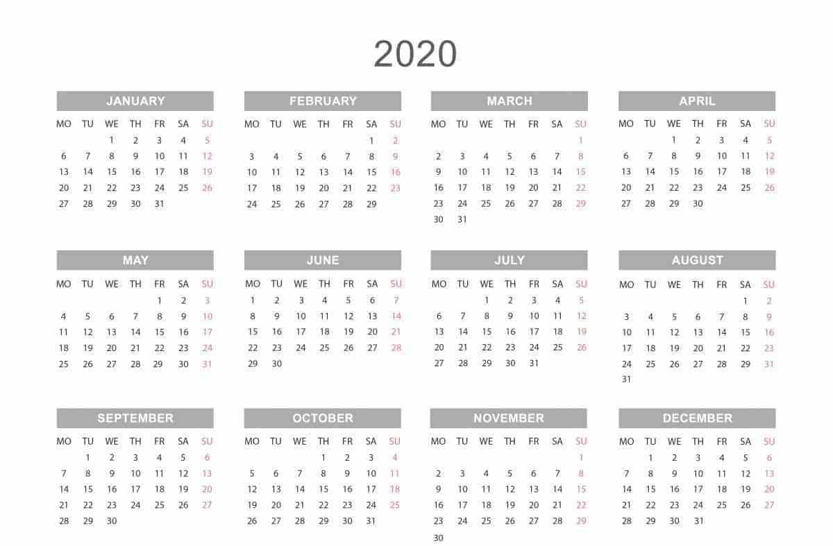 12 Month 2020 Printable Calendar Calendar Template 12 Month Calendar Calendar Printables 12 month calendar template word