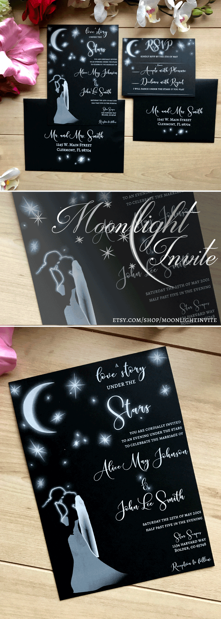 Starry Night Wedding Invitation Bride And Groom Kissing Under The Stars And  Moon Love Story