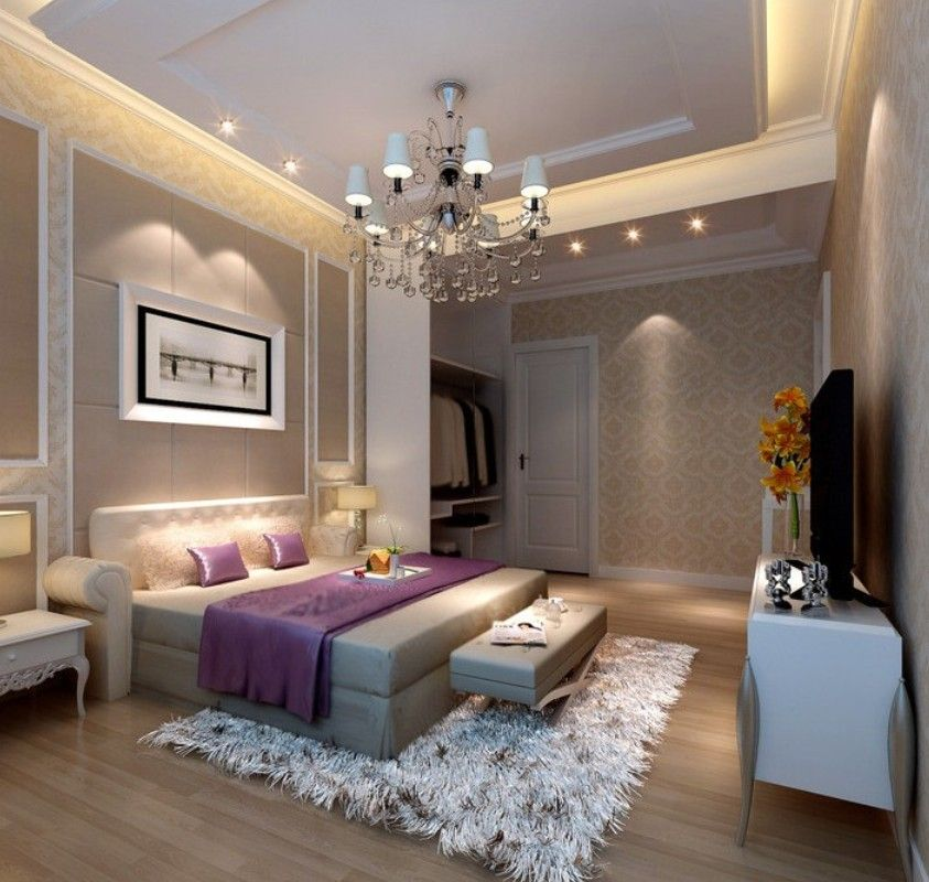 3d rendering neoclassical bedroom lighting for beautiful