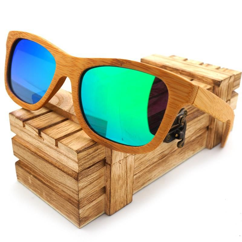 9a5e72a3372 Polarized Bamboo Wooden Sunglasses with Case