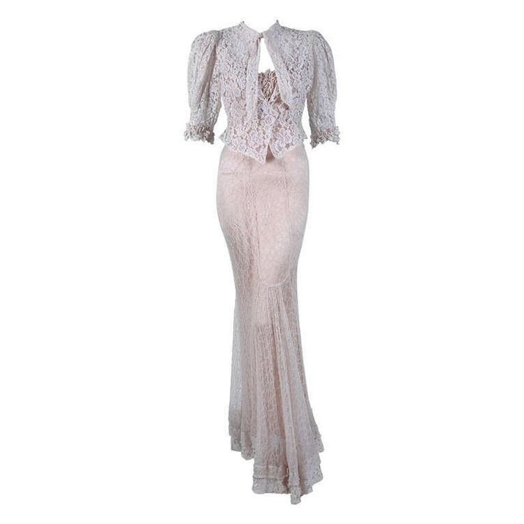 1930's Ethereal Ivory-White Lace Bias-Cut Backless Gown & Jacket