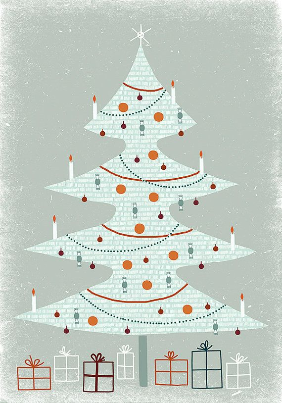 Christmas card in greyish blue with white Christmas-tree My