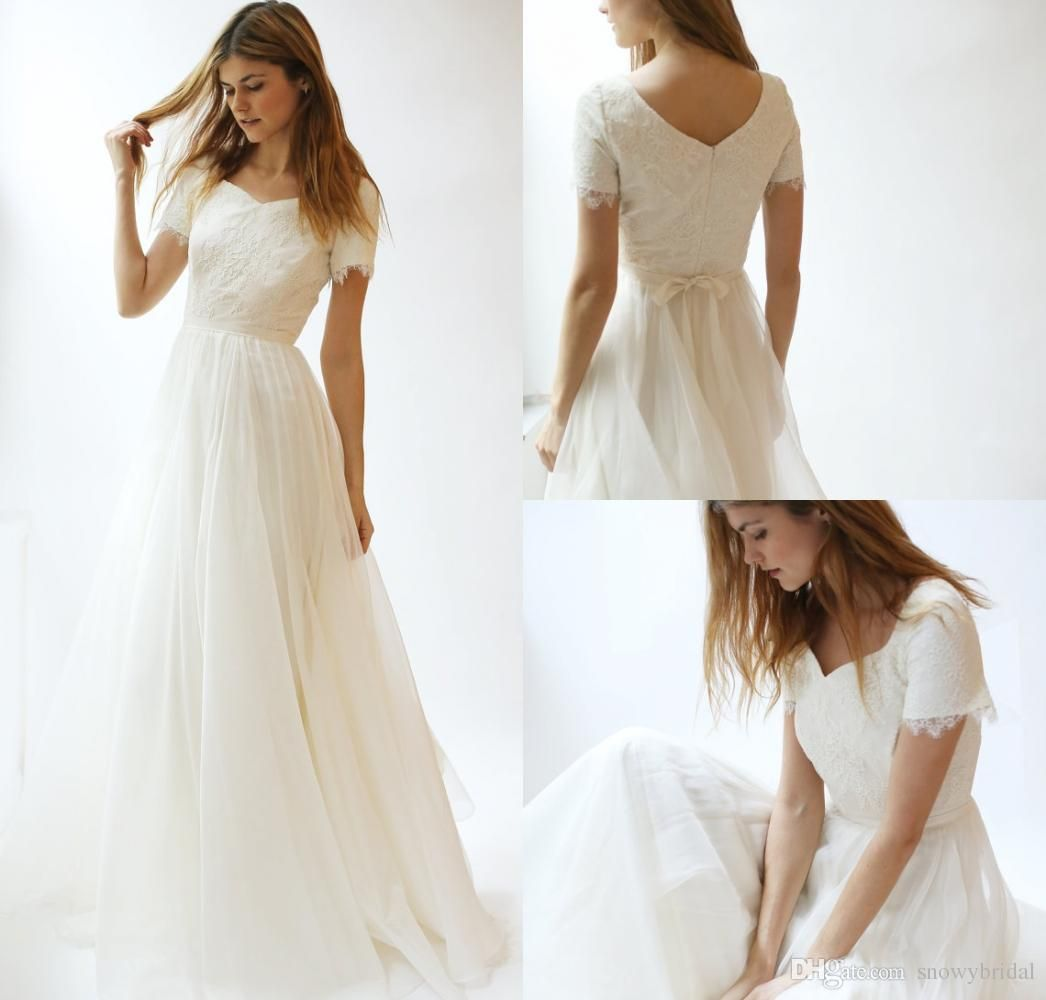 Discountshort Sleeves Lace Chiffon Modest Wedding Dresses 2017 With Sleeves Sashes A Line Summer Beach Boho Wedding Gowns Simple Reception Dress From Snowybrida Short Wedding Dress Plus Wedding Dresses Trendy Wedding Dresses [ 1000 x 1046 Pixel ]