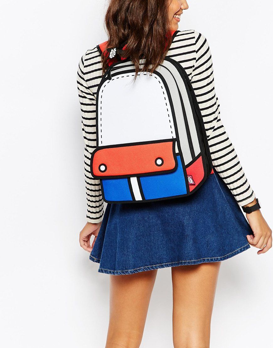 Image 1 of JumpFromPaper Red and Blue Colour Block 121Backpack