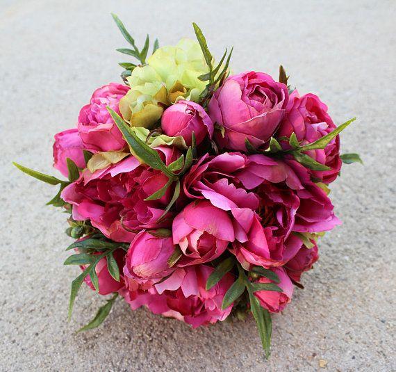 Hot pink silk flower bouquet bridesmaid bride bridal floral hot pink silk flower bouquet used premium silk flowers peony rose coffee mightylinksfo