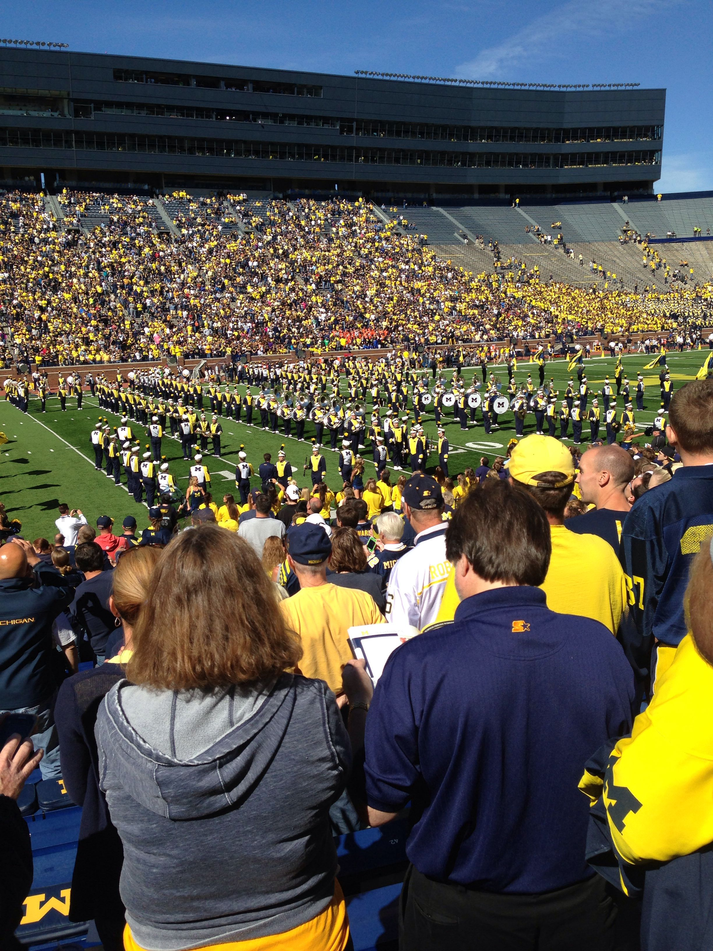 At The Big House watching the Michigan Wolverines marching