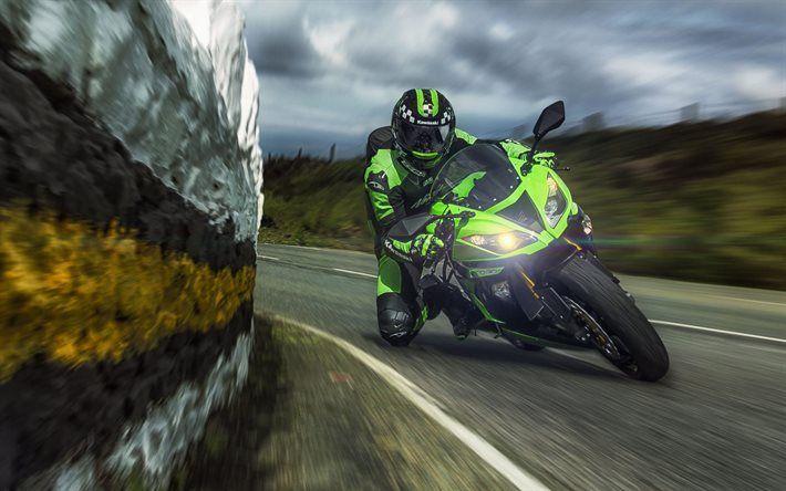 Kawasaki Ninja ZX-6R, sportbikes, speed, movement, rider, Kawasaki