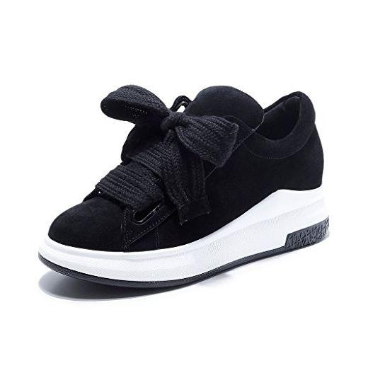 025c5222dad990 RoseG Damen Leder Schnürschuhe Plateau Mode Sneakers Freizeit Schuhe Schwarz  36 - Schnürhalbschuhe für frauen (