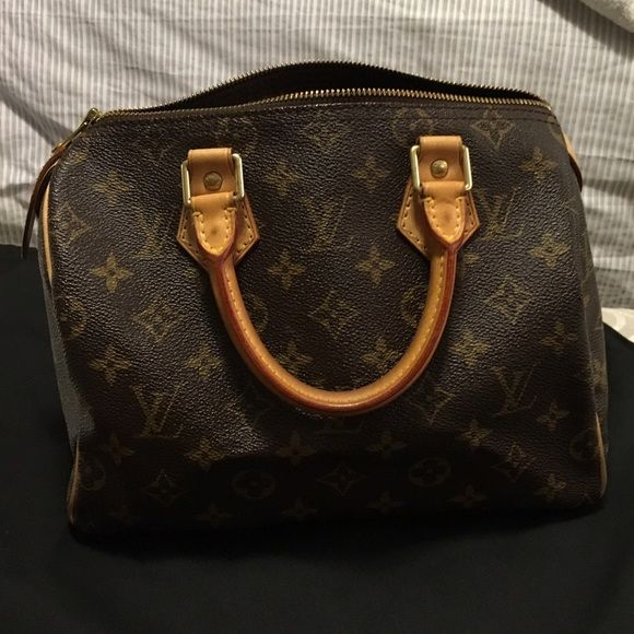 Beautiful and Authentic Louis Vuitton Speedy25 Speedy 25 | great Condition | 100% Authentic | pristine Condition inside | normal wear | a couple water stains on the lining and it's in the extra pics in my closet. | No Dustbag and no lock | This is the best priced Speedy 25 and in the best condition posted on Posh. Will do cheaper on Ⓜ️ Louis Vuitton Bags Satchels