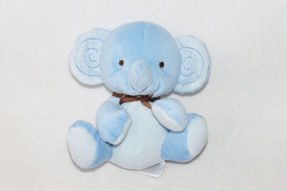 Fisher Price Blue Elephant Brown Bow Plush Jungle 6 Small Baby Mini Toy Lot 2 Baby Plush Toys Blue Elephants Fisher Price Baby Toys