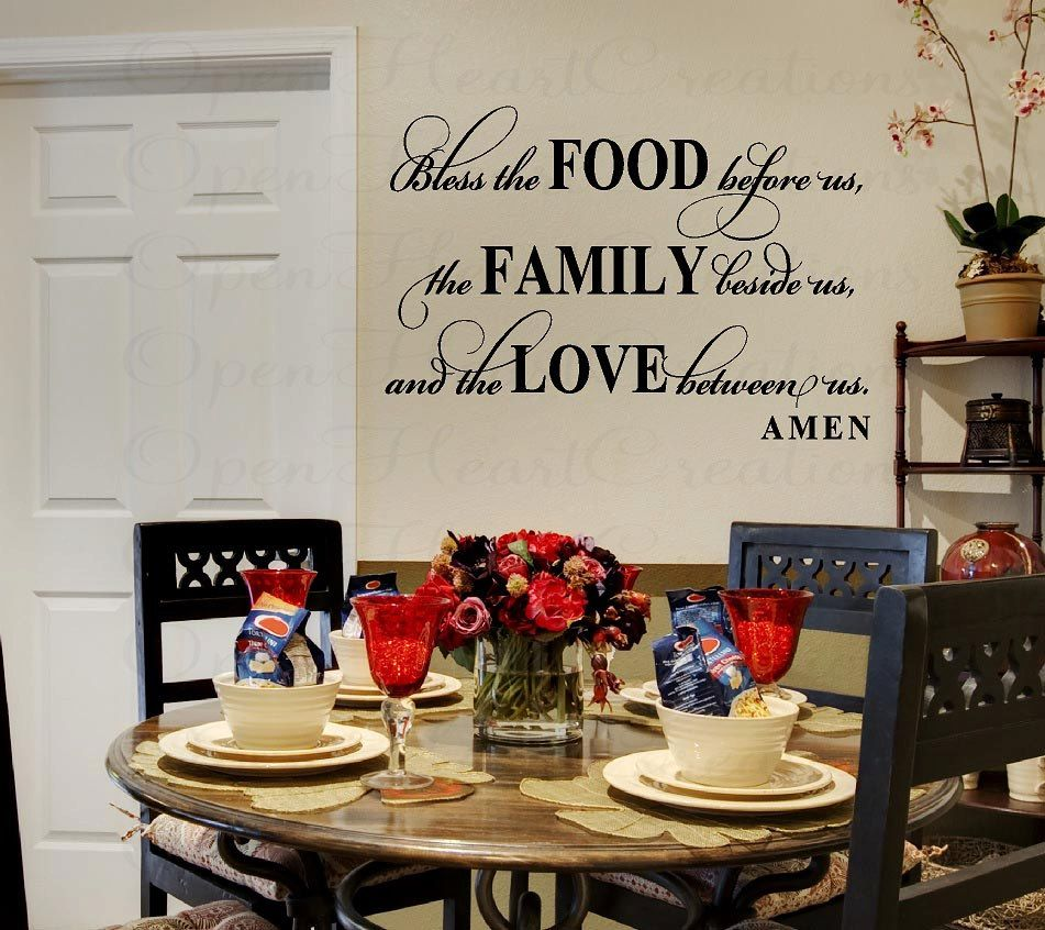 Bless This Food Before Us Wall Decal Dining Room Meal Prayer - Wall stickers for dining roomdining room wall decals wall decal knife spoon fork wall decal