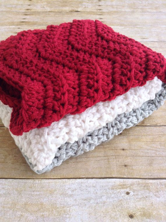 Chunky Rustic Crochet Baby Blanket In Deep Red Grey And White