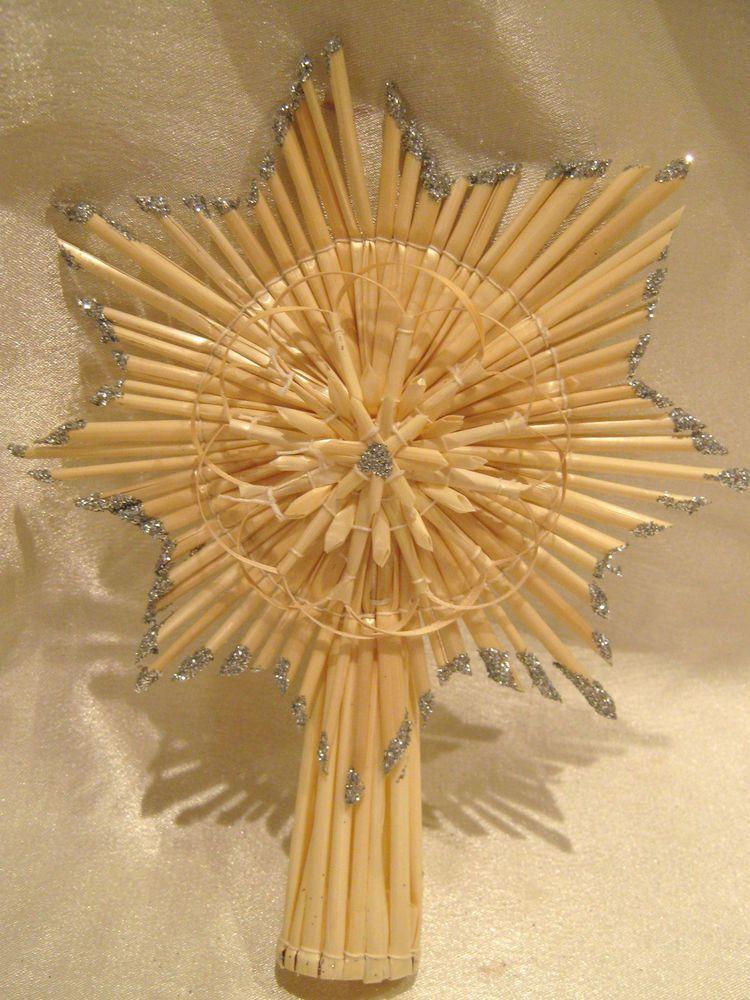 Strohstern christbaumschmuck christbaumspitze mit silberglimmer weihnachten - Christbaumspitze basteln ...