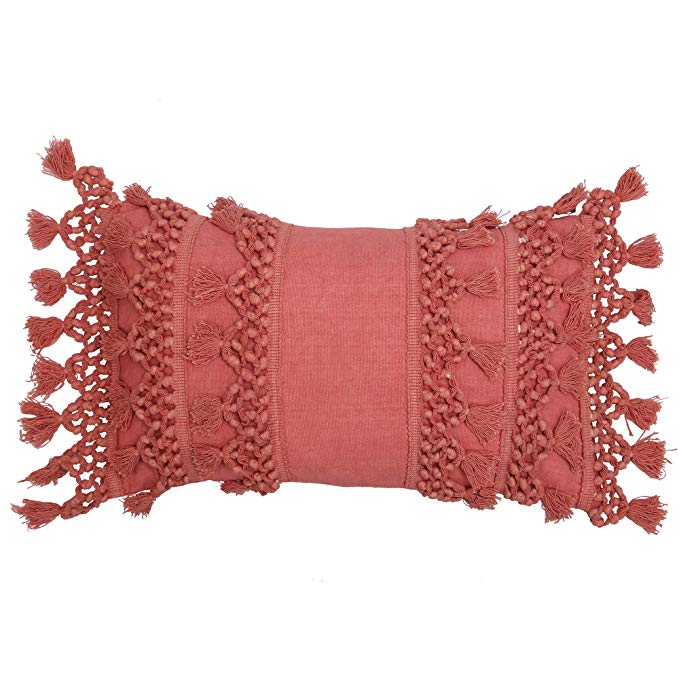 RAJRANG BRINGING RAJASTHAN TO YOU Cushion Covers - Pillow Case Small Decorative Coral Throw Pillow Covers for Sofa Couch Bedroom Living Room, Woven Boho Pillow Cases with Tassels 20x12 inches