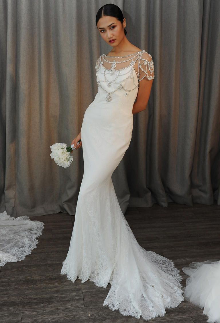 See the opulent glam wedding dresses from badgley mischka for Chantilly lace wedding dress