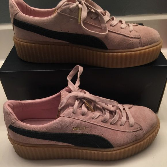 ⭐️Puma Creepers⭐ Rihanna s sold out puma creepers. Pink, oatmeal and green 406f1af4a21