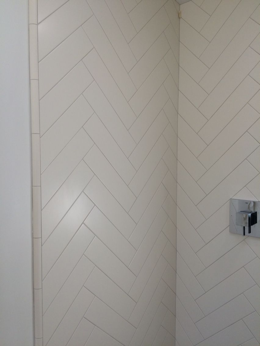 Herringbone 4 X 12 Matte White Tile In The Shower