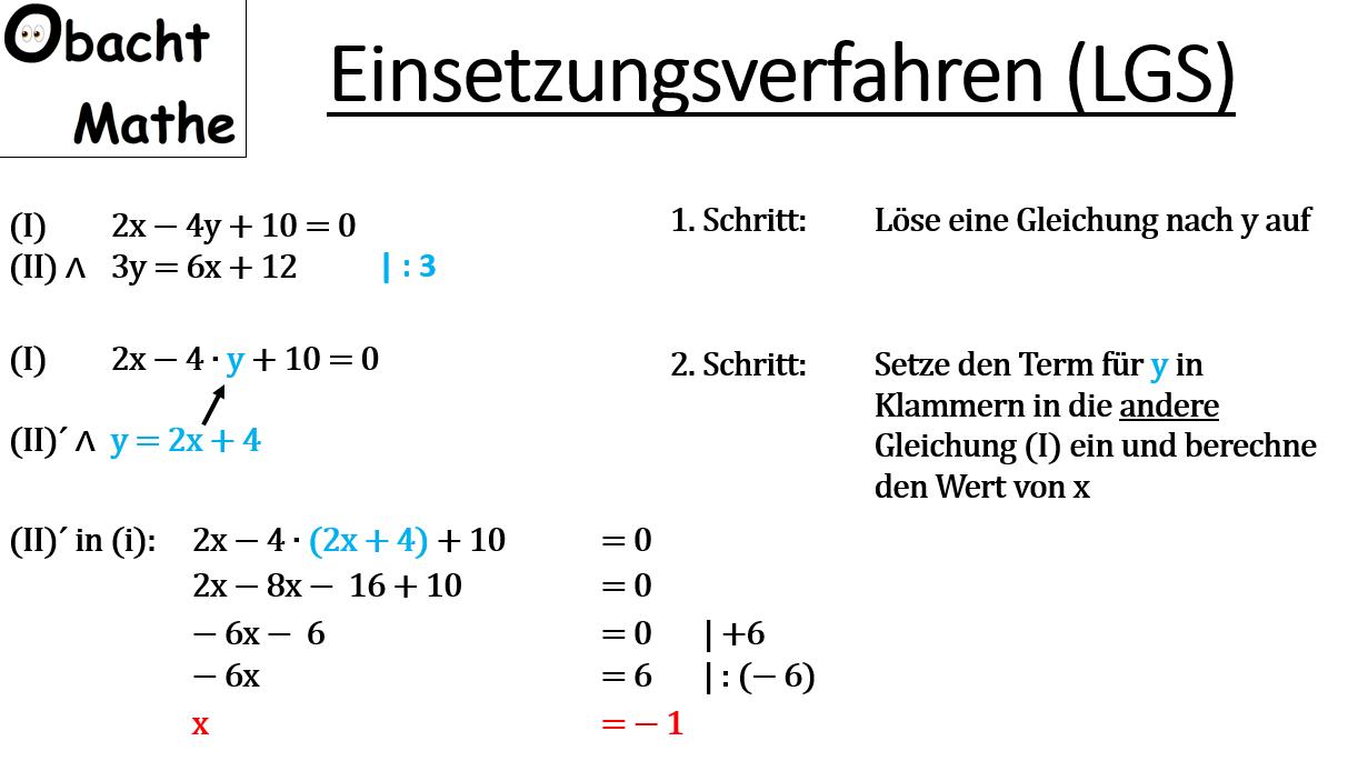 Einsetzungsverfahren - Lineare Gleichungssysteme - LGS - 2 ...