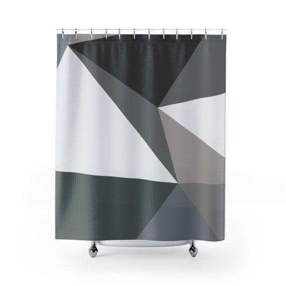 Gray Tones Geometric Pattern Shower Curtain  Minimalist Bathroom Decorbathroombathroom