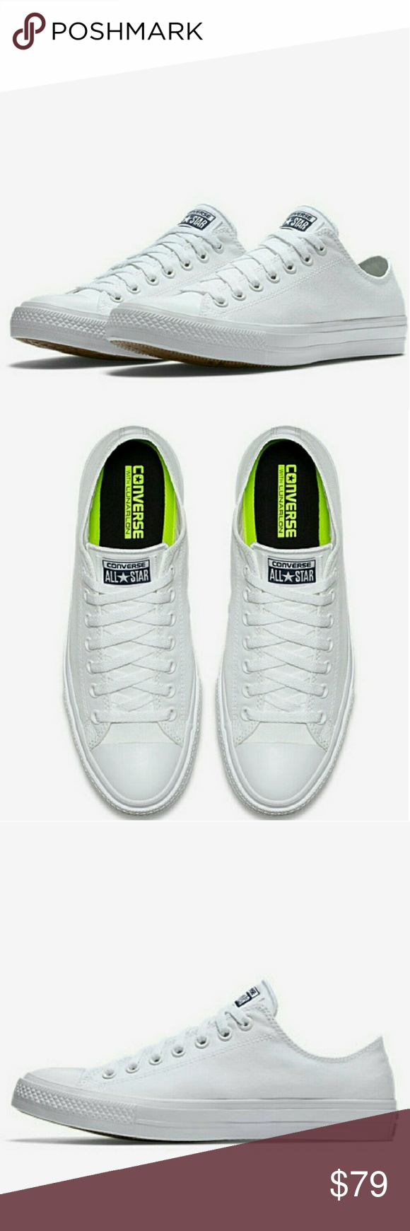 cf97a524f3097 NWT Converse Chuck 2 White Low Top Nike Lunarlon - Brand New in box - Great