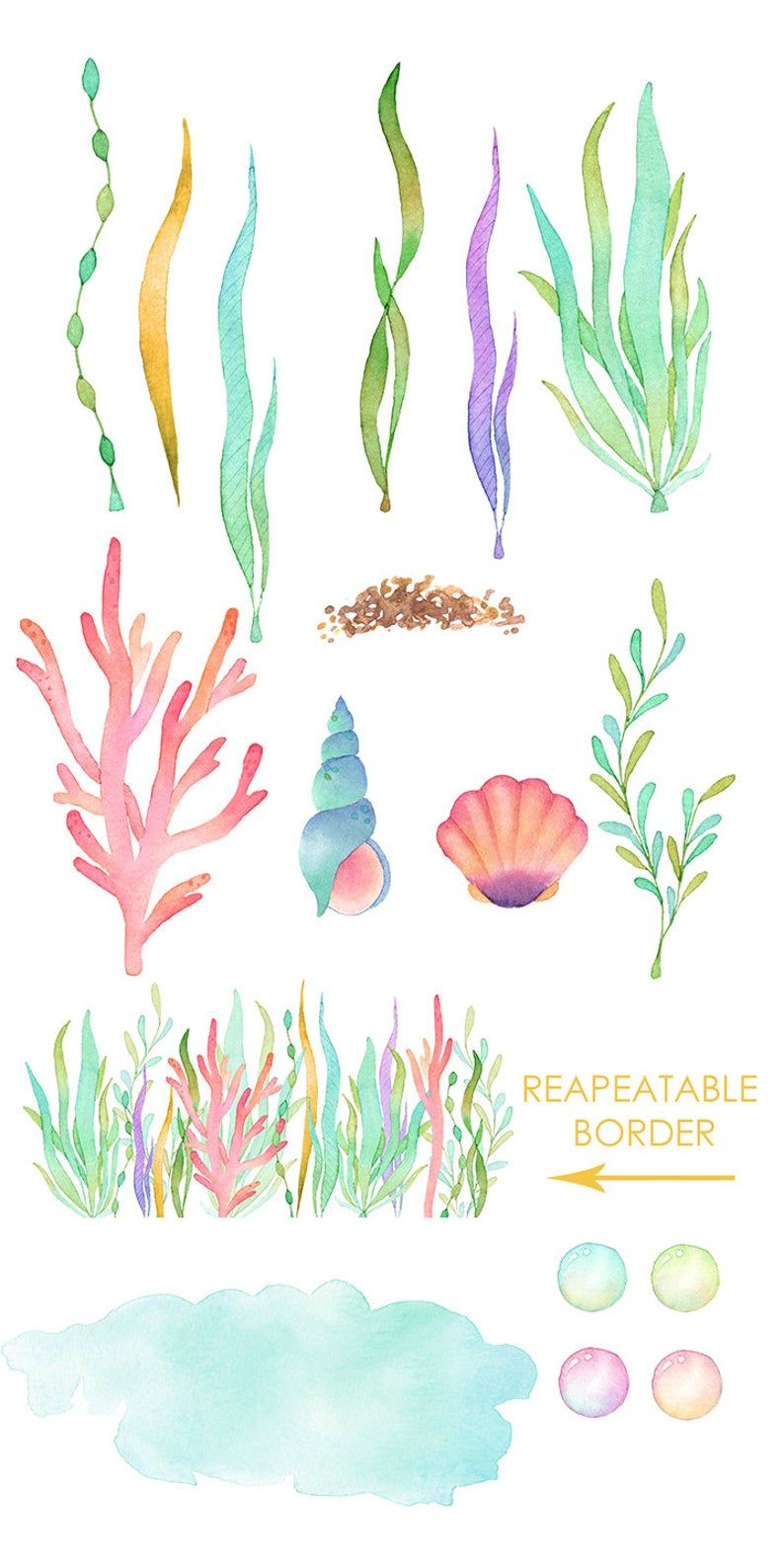 Sea Animals Watercolor Clipart Whale Jellyfish Turtle Narwhal