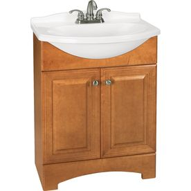 Style Selections Euro Style Honey Integral Single Sink Bathroom Vanity With  Cultured Marble Top (