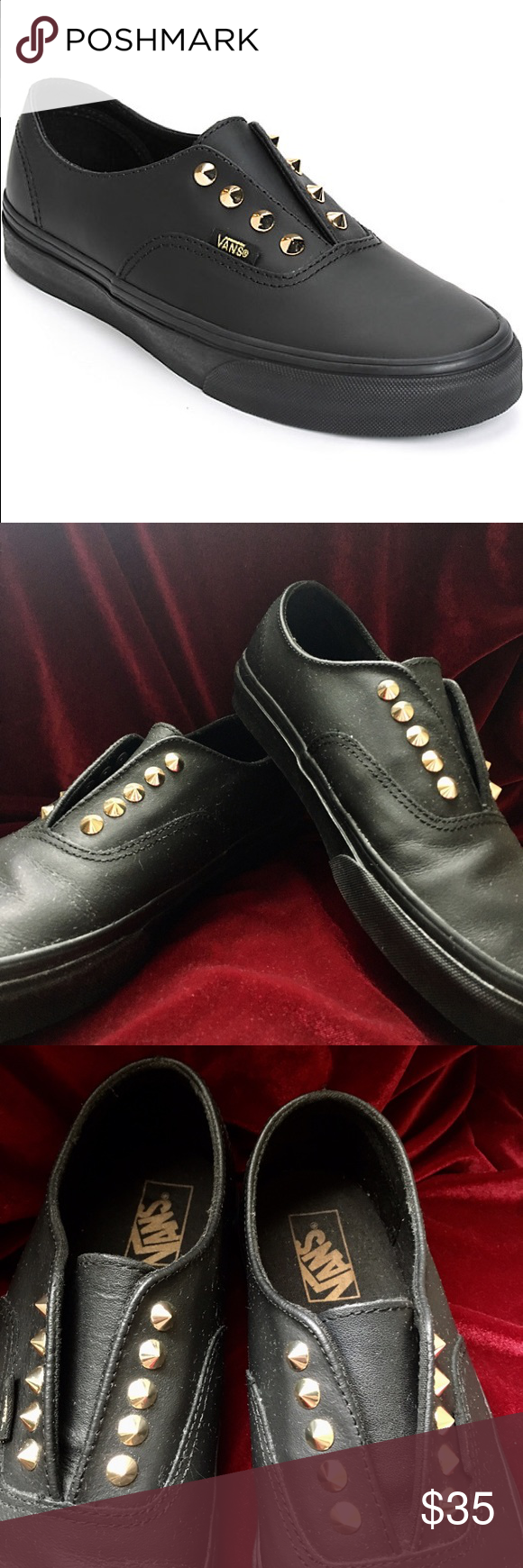 fef5a7ded4e687 ✖️Vans Authentic Gore Stud Leather Slip On Shoes These classic style slip-on  shoes