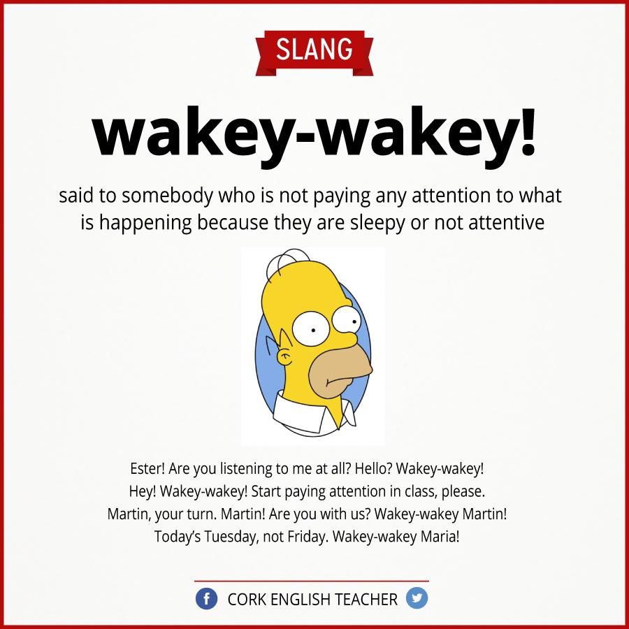 Wakey wakey slang pinterest english is funtastic meaning of the slang wakey wakey kristyandbryce Images