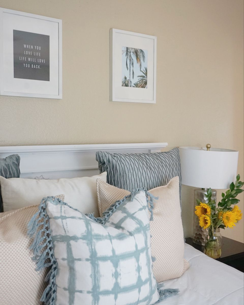 Neutral Bedroom Decor w/ pop of color in 2020 Neutral
