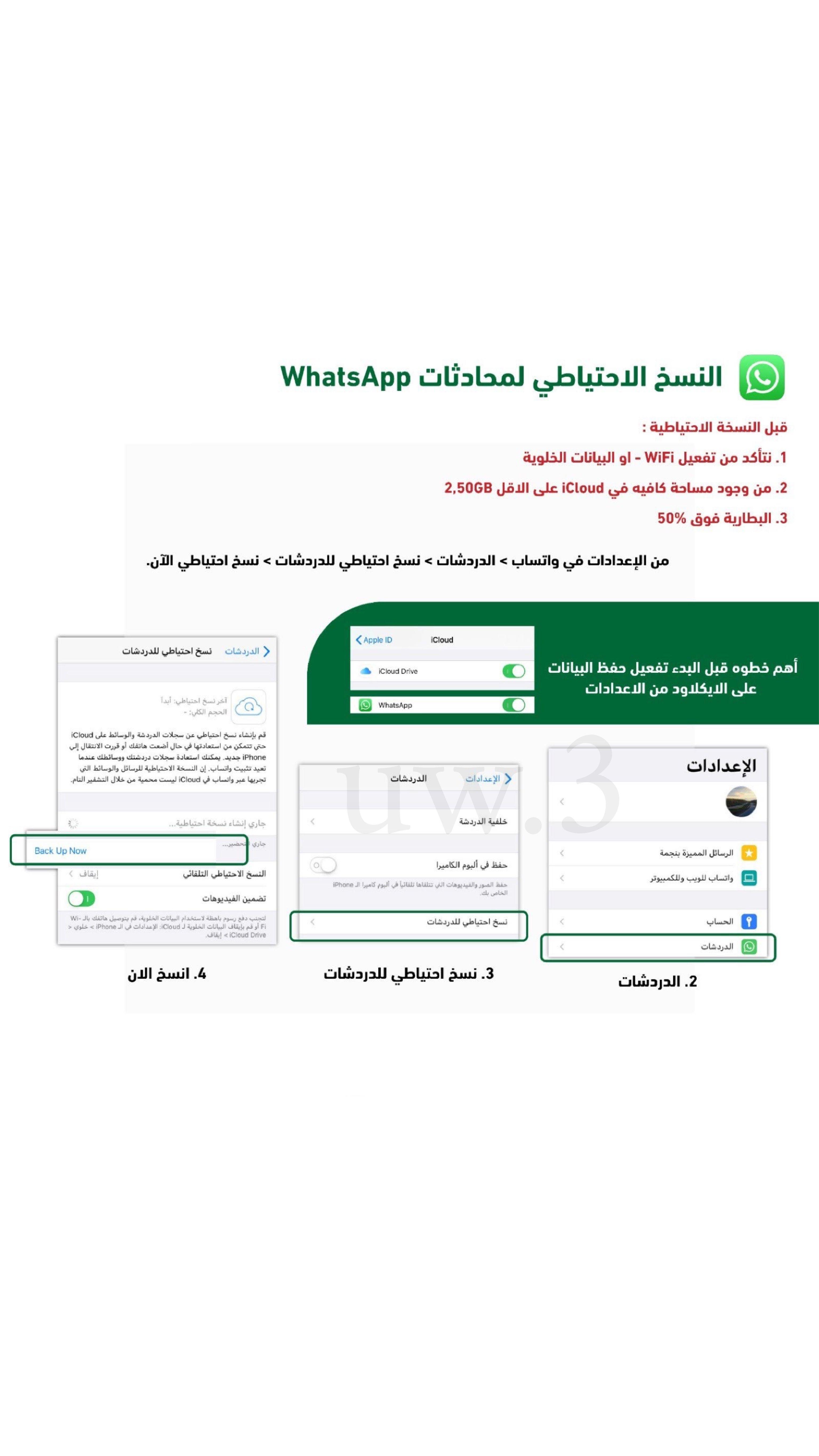 النسخ الاحتياطي لمحادثات Whatsapp App Ios Iphone