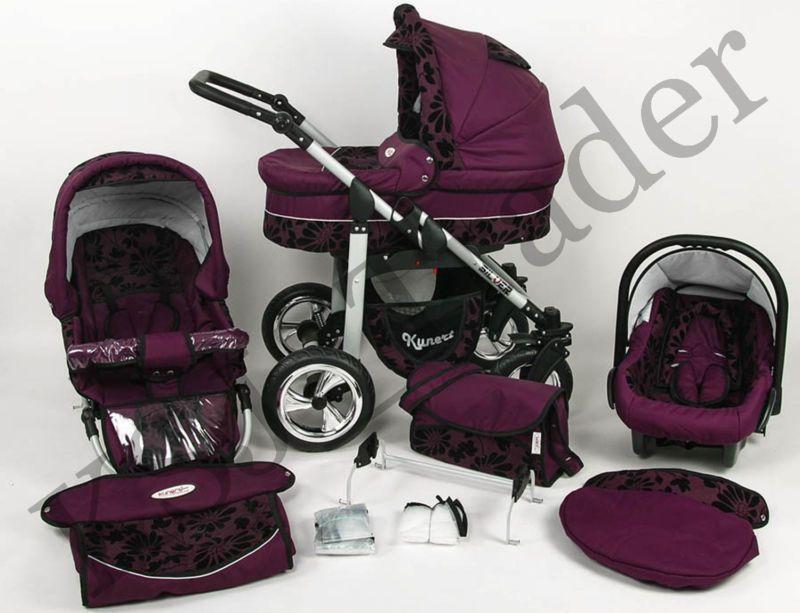 Silver 3 In 1 Pram Pushchair Stroller Travel System Purple Flowers