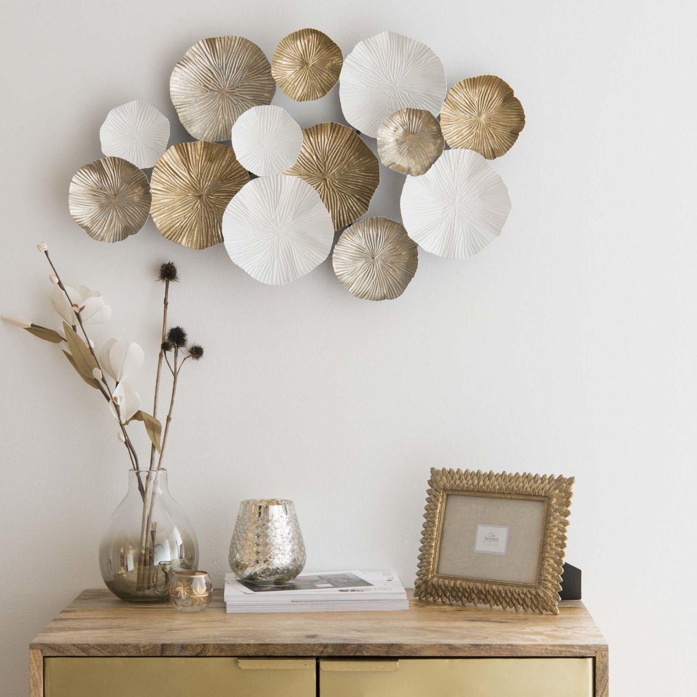 Wanddekoration #wanddekowohnzimmer Wanddeko aus Metall, weiß und