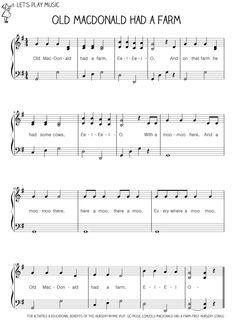 Old Macdonald Had A Farm First Nursery Songs Easy Piano Sheet Musicnursery