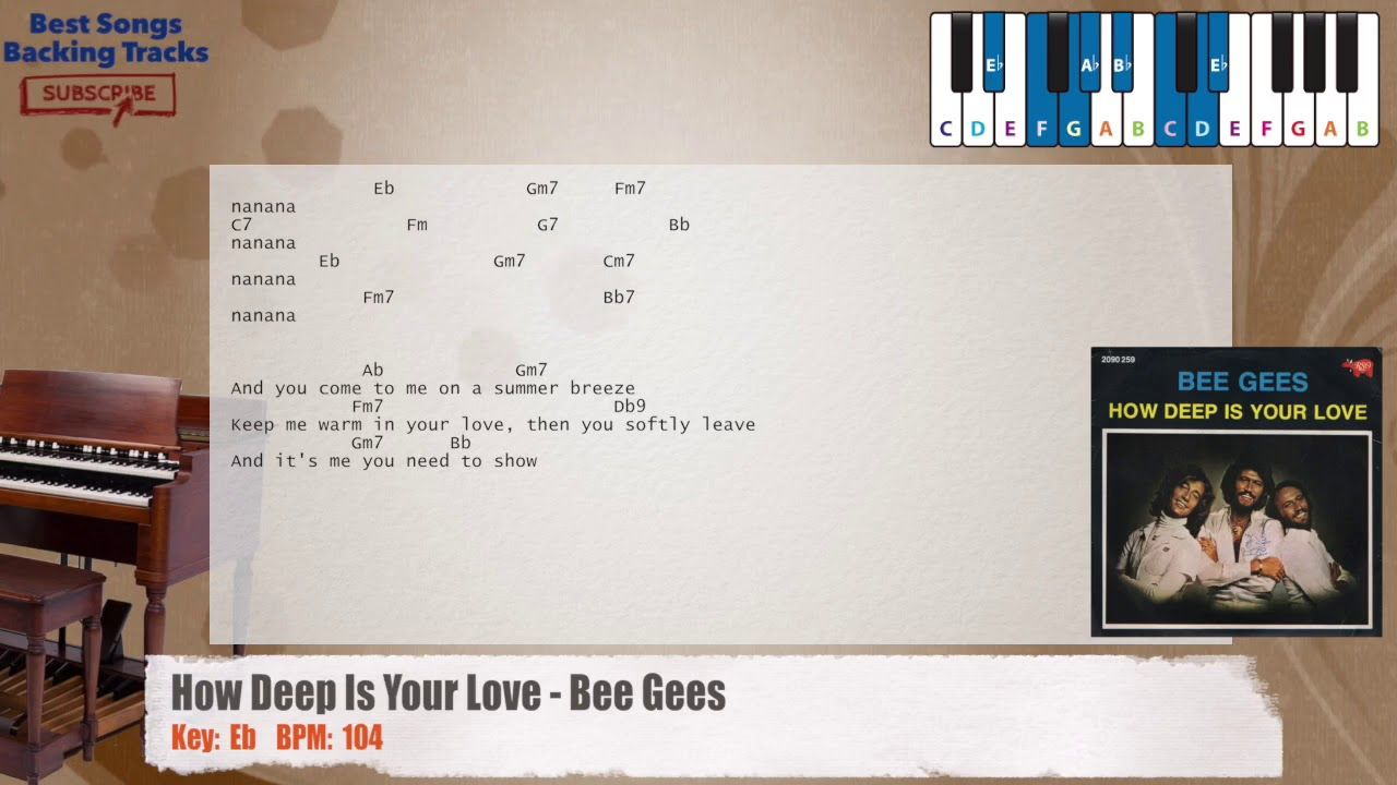 How Deep Is Your Love Bee Gees Piano Backing Track With Chords And