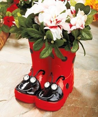New Whimsical Ladybug Ceramic Boot Planter Outdoor Garden Pottery Decor In Home