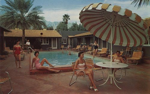 Vintage Pool Party Nice Umbrella Contest Pool
