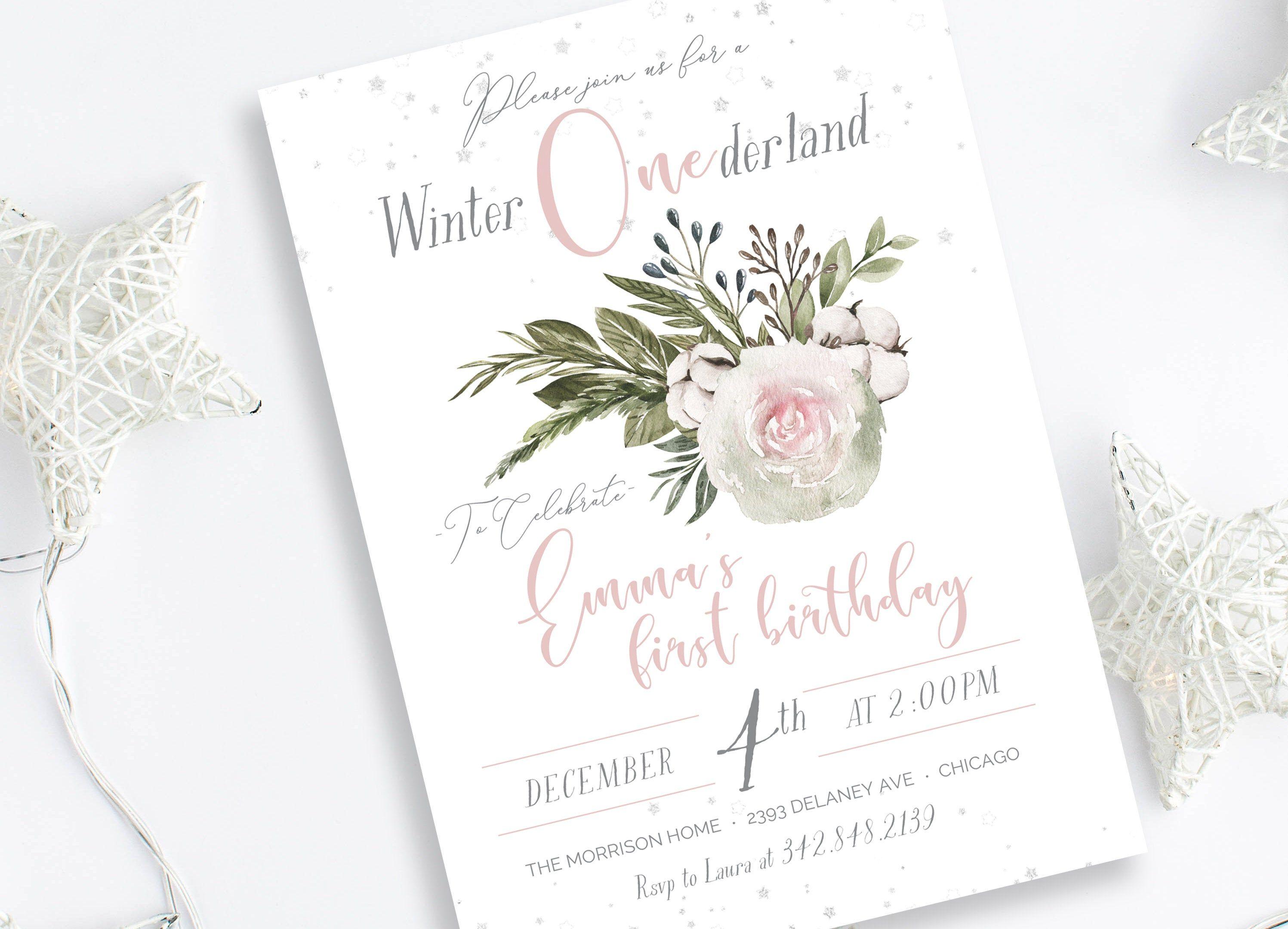 Winter Onederland Birthday Invitation Template First Birthday Etsy Winter Onederland Birthday Invitations Winter Onederland Birthday First Birthday Invitations