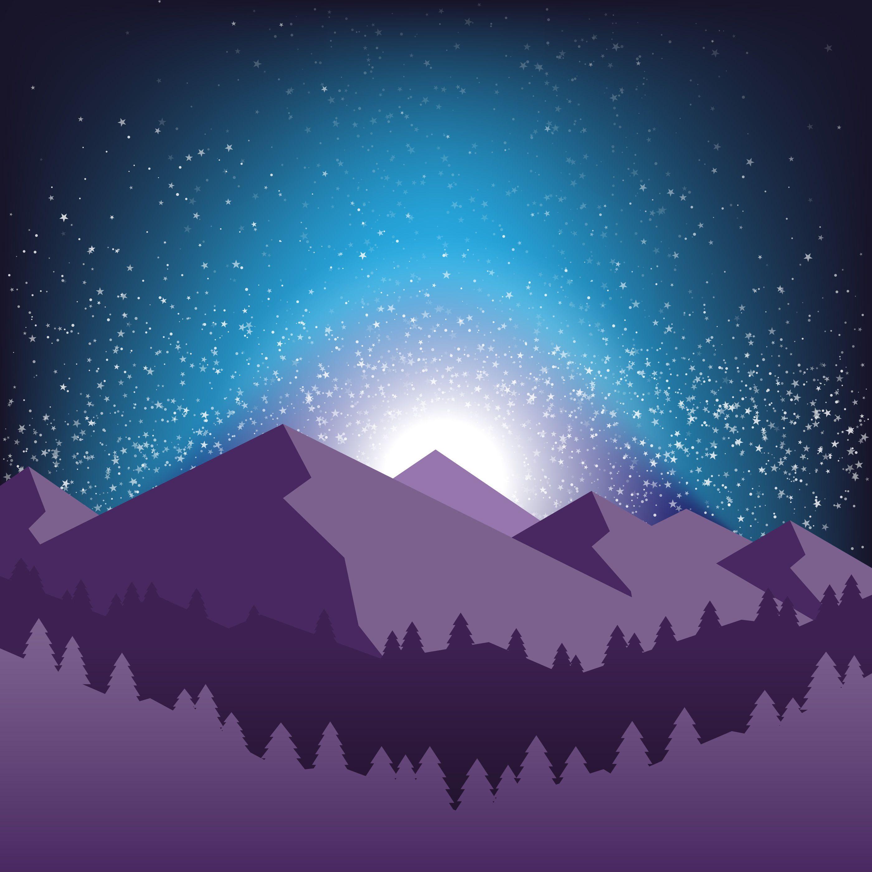 Vector background of Starry night sky. Stars, sky, night