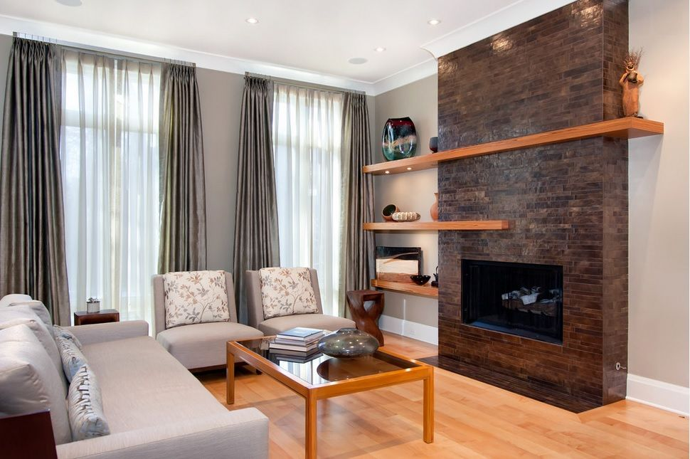 cortinas y visillos en barra en saln clsico contemporneo - Cortinas Salon