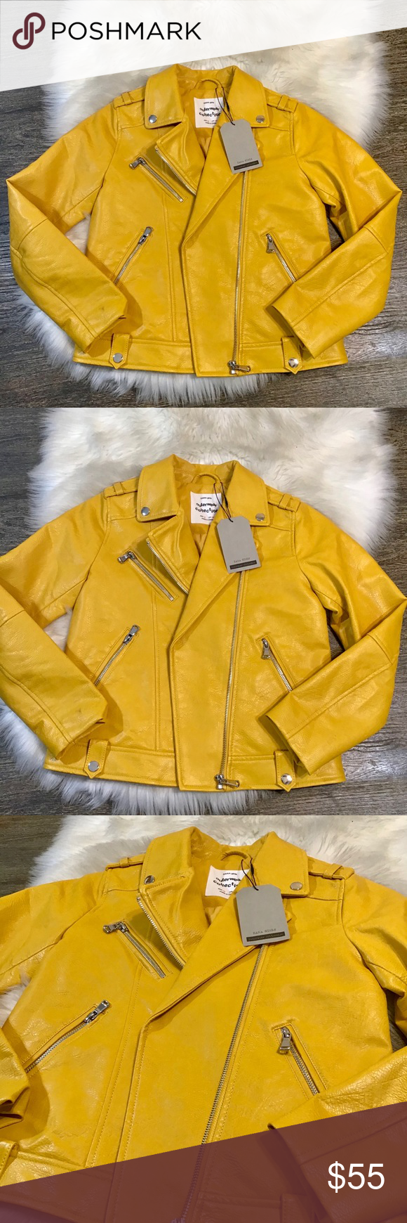 Zara girls yellow faux leather jacket New with tags. Beautiful, vibrant color. Fully lined. Zara Jackets & Coats Jean Jackets
