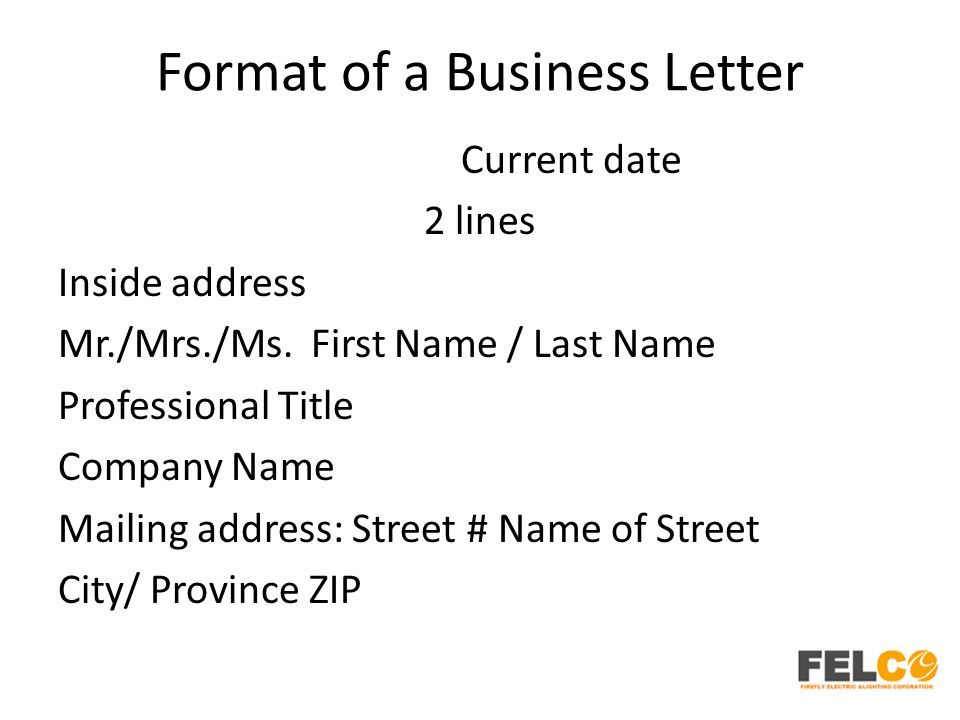 Business Letter Format Inside Address Parts Letters Letterhead