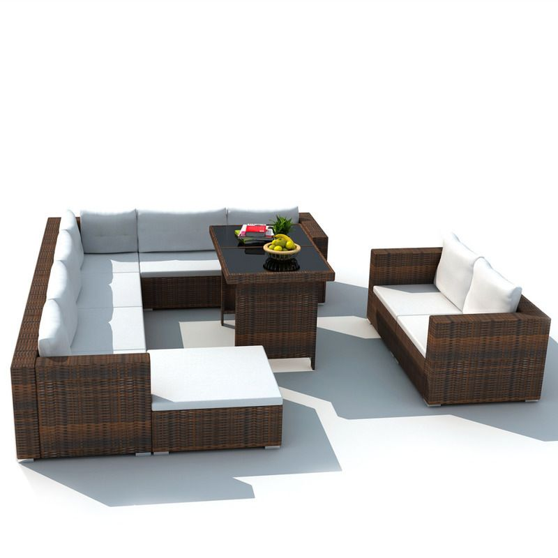Vidaxl Outdoor Dining Lounge Set 28 Piece Wicker Rattan Brown Sofa Couch Table In 2019