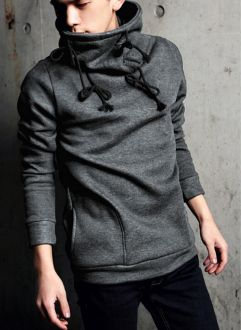 Korea style #Men 's Pullover Hoodie with High Collar