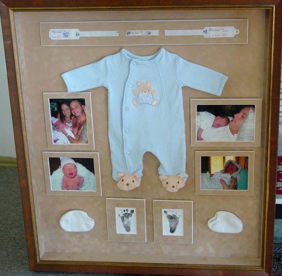 Ideia para eternizar os primeiros momentos e roupinha do recém nascido, num lindo quadro que também pode decorar o quartinho do bebê  #DádivadeMãe