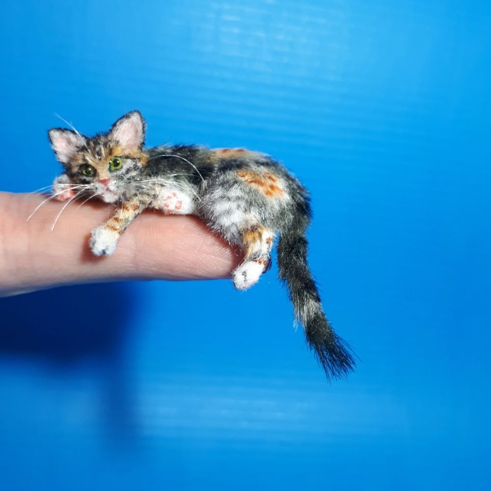 OOAK Realistic tabby cat Dollhouse Handmade by