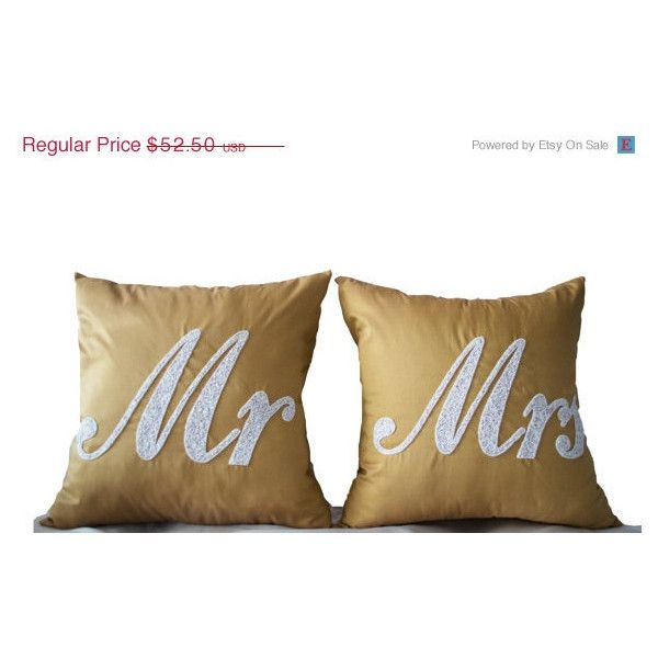 Mr Mrs Pillows Decorative Pillow Covers Accent Pillows Wedding Pillow... ($53) ❤ liked on Polyvore featuring home, home decor, throw pillows, gold home decor, beige throw pillows, silk throw pillows, christmas home decor and ivory throw pillows