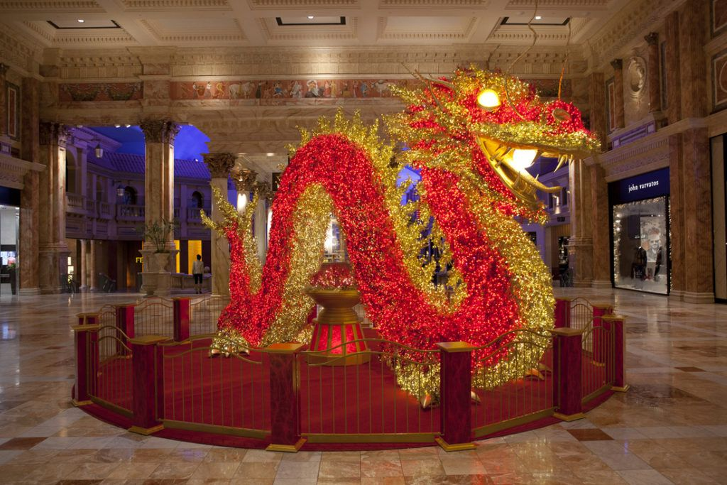 The Forum Shops Install Giant Illuminated Dragon In Time