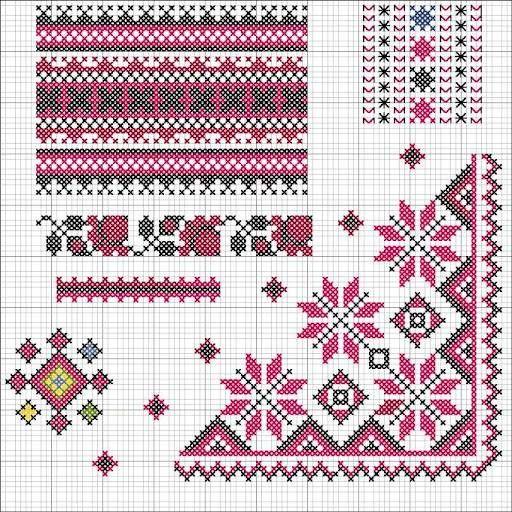 نقلات تطريز فلاحي Holiday Cross Stitch Patterns Cross Stitch Borders Corner Cross Stitch Patterns