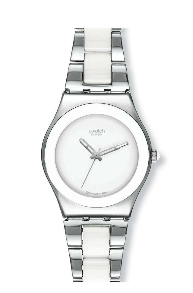 691977584466 Swatch silver ceramic white